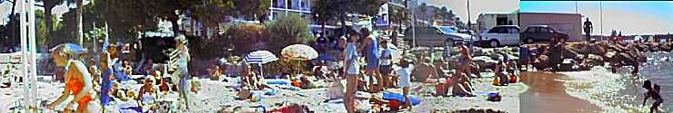 French Riviera beach in August at Juan