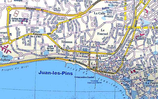Maps of Antibes Cap dAntibes and Juan les Pins